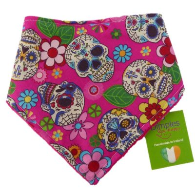 Dimples dog bandana Mexican skulls pink front