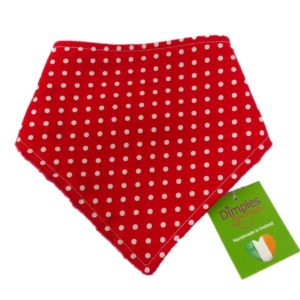 Dimples dog bandana Red polka dot front