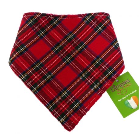 Dimples dog bandana Red tartan checkers front