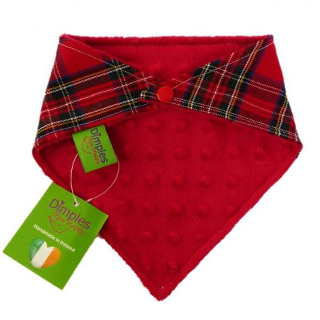 Dimples dog bandana Red tartan checkers back