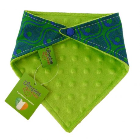 Dimples dog bandana Emerald feathers green back