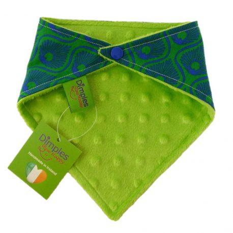 Dimples dog bandana Emerald feathers green back