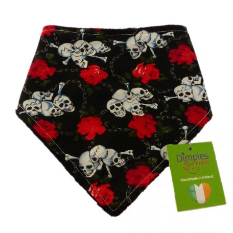 Dimples dog bandana Roses and skulls front