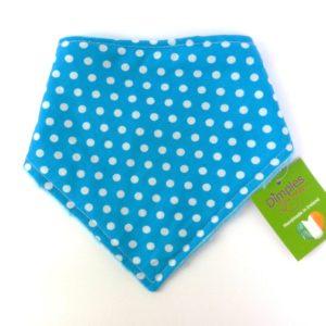 Dimples dog bandana Turquoise polka dot front