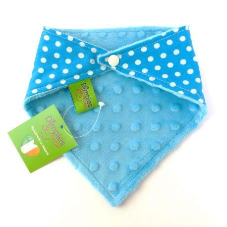 Dimples dog bandana Turquoise polka dot back