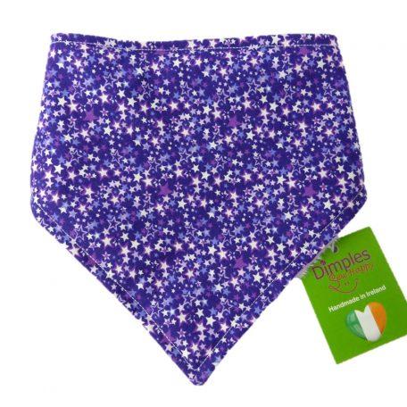 Dimples dog bandana Purple fantasy stars front