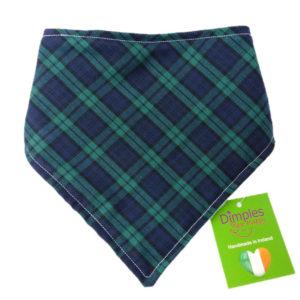 dog bandana Blue Tartan check front | Dimples Sew Happy