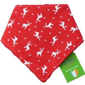 dog bandana christmas reindeer front | Dimples Sew Happy