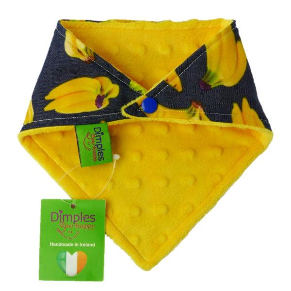 Bananas On Denim Dog Bandana yellow back | Dimples Sew Happy