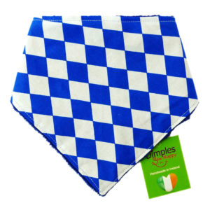 Bavaria Blue White Check Dog Bandana front | Dimples Sew Happy