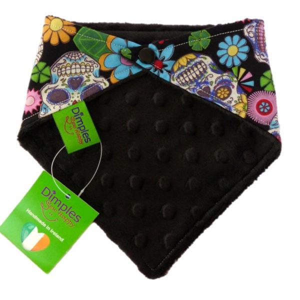 Black Mexican Skulls Dog Bandana black back | Dimples Sew Happy