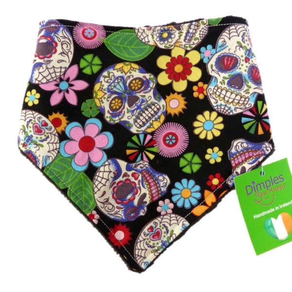 Black Mexican Skulls Dog Bandana front | Dimples Sew Happy