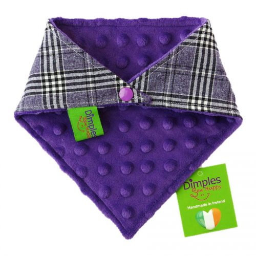 Glencheck Purple Tartan Dog Bandana back | Dimples Sew Happy