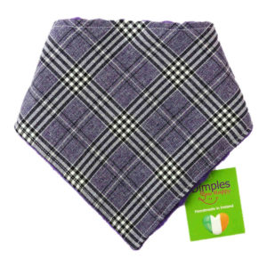 Glencheck Purple Tartan Dog Bandana front | Dimples Sew Happy