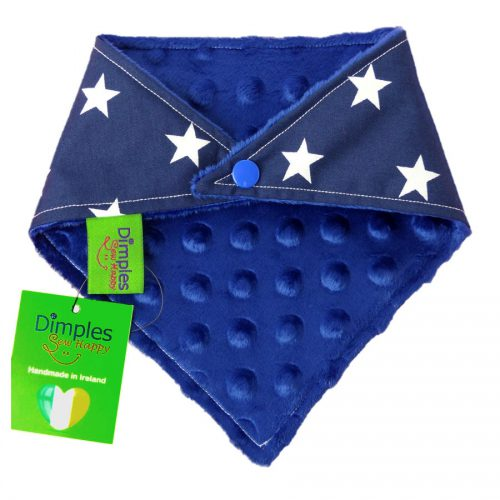 Navy Movie Stars Dog Bandana blue fleece back | Dimples Sew Happy
