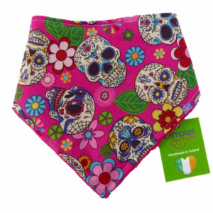 Pink Mexican Skulls Dog Bandana front | Dimples Sew Happy