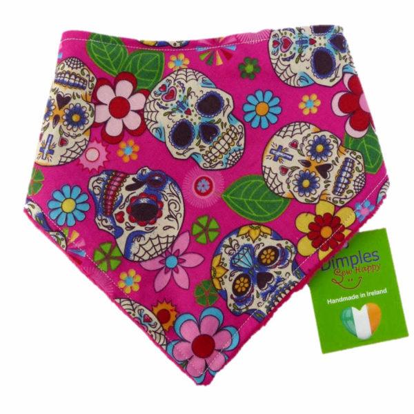Pink Mexican Skulls Dog Bandana front   Dimples Sew Happy