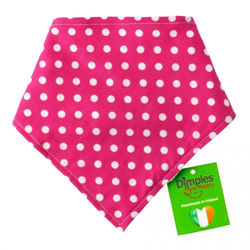 Pink Polka Dot Dog Bandana Front | Dimples Sew Happy