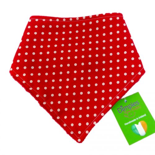 Red Polka Dot Dog Bandana front | Dimples Sew Happy
