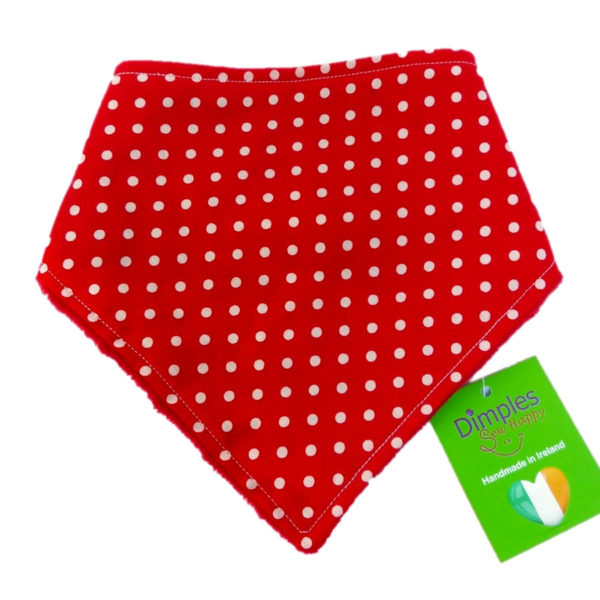 Red Polka Dot Dog Bandana front   Dimples Sew Happy