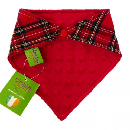 Red Tartan Dog Bandana Red checkers back | Dimples Sew Happy
