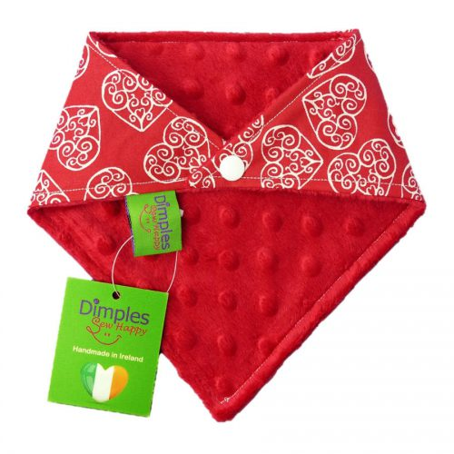 Romantic Hearts Dog Bandana Red Fleece back | Dimples Sew Happy