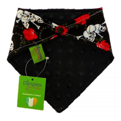 Roses and Skulls Dog Bandana Black back | Dimples Sew Happy