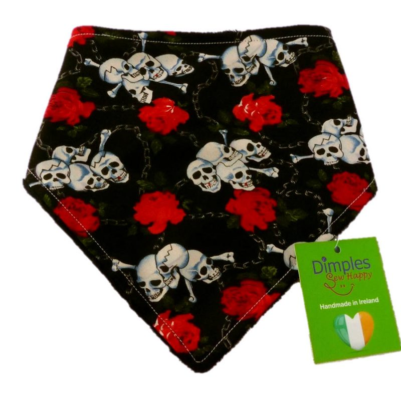 Roses and Skulls Dog Bandana front | Dimples Sew Happy