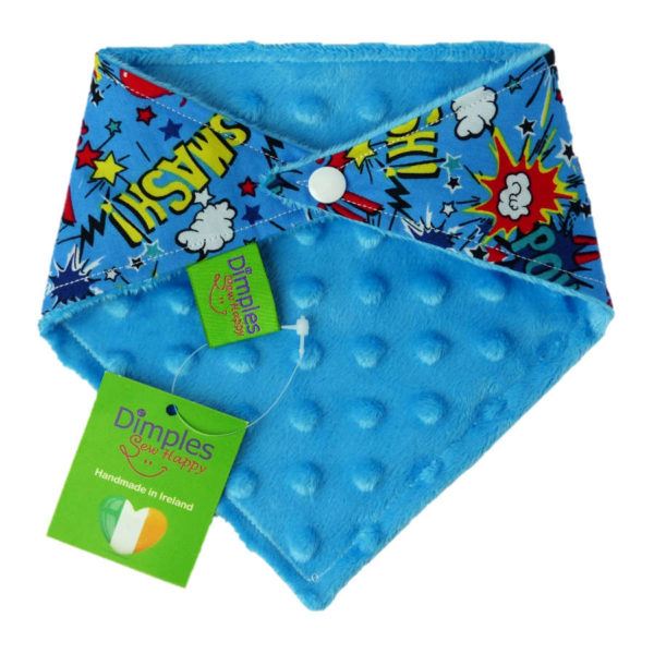 Superhero Comic Dog Bandana gift blue fleece back | Dimples Sew Happy