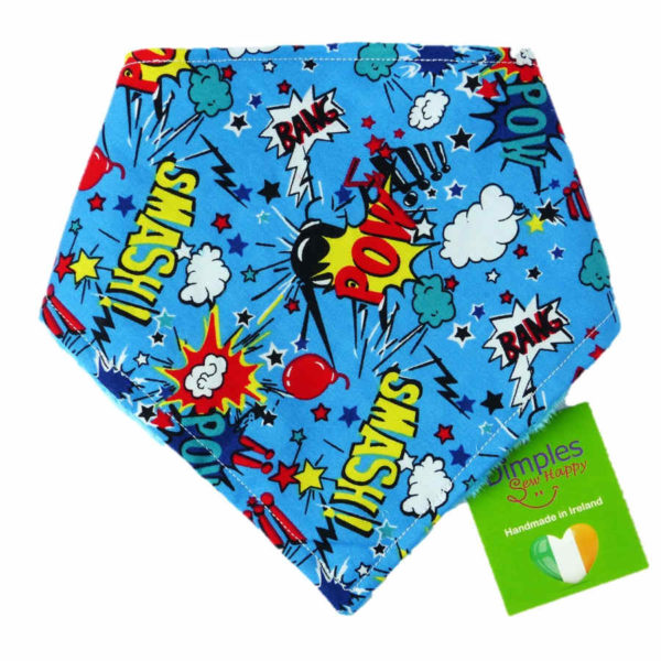 Superhero Comic Dog Bandana gift | Dimples Sew Happy