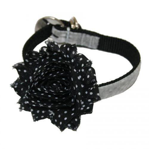Black with White Spots Flower Dog Collar