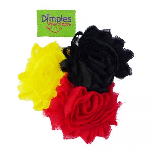 Black Yellow Red Flower Dog Collar