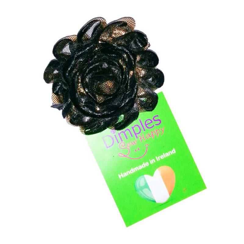 Flower for Dog Collar Black Gold
