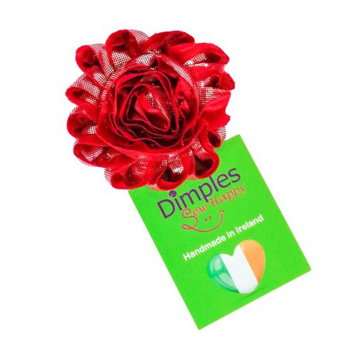 Red and Gold Flower for Dog Collar