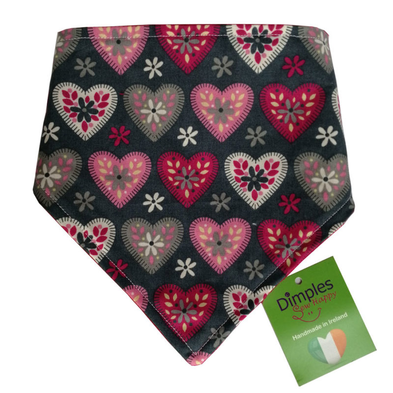 Hearts on grey valentine's dog bandana