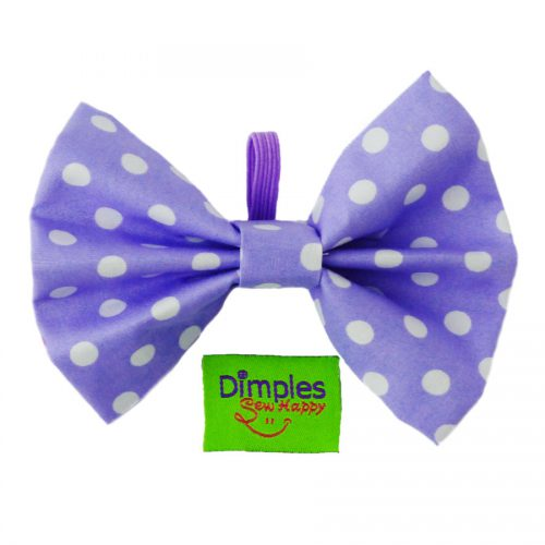Lilac Polka Dot Dog Bow Tie