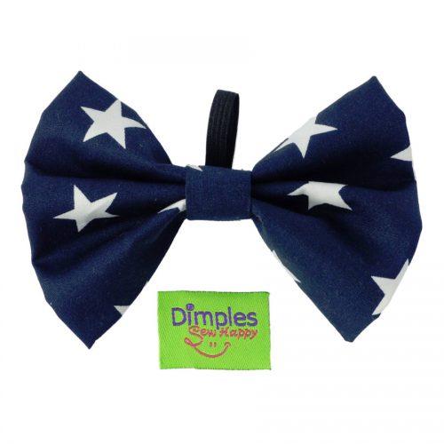 Navy Stars Dog Bow Tie