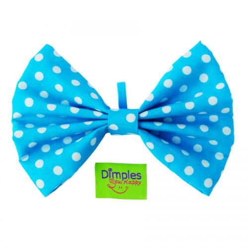 Turquoise Polka Dot Dog Bow Tie